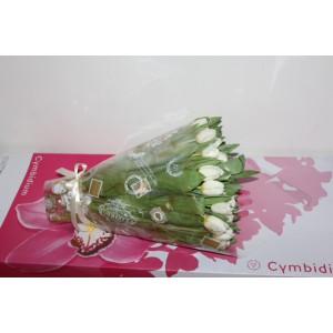 Букет белых тюльпанов 75 шт.