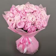 35 розовых  пионов
