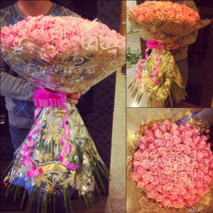 101 нежно-розовая роза СПБ