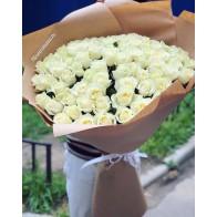 Букет гигант из белых роз