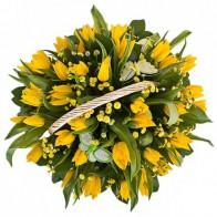 Корзина тюльпанов «Блики солнца»
