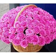 101 розовая роза в корзине СПБ