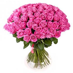 Букет из 101 розовой розы «Wow!»