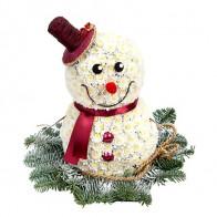 Фигура из цветов «Снеговичок»