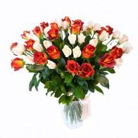 Букет 51 роза «Кофе со сливками»