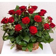 Корзина страсти из 25 алых роз Гран-при