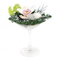 Композиция новогодняя «Белая орхидея»